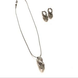 Silver Necklace and Earring Set